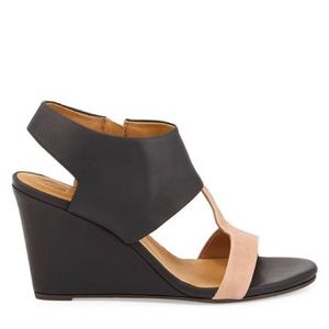 Coclico jojo leather wedge sandal cut out black